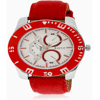 Adine White Dial Analog Watch (AD-6015 RED-WHITE)
