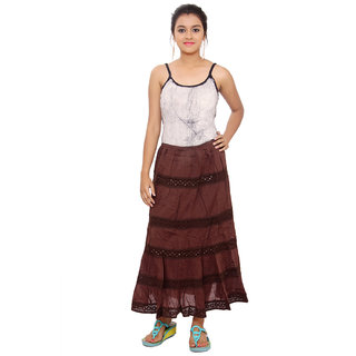 SML Originals Brown Colour Solid Tier Skirt (SML26Brown)