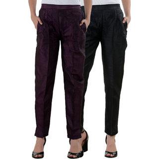 NumBrave Purple Black Raw Silk Pants (Combo of 2)