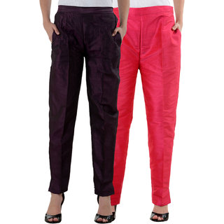 NumBrave Purple,Pink Raw Silk Pants (Combo of 2)
