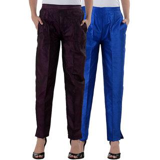 NumBrave Purple RoyalBlue Raw Silk Pants (Combo of 2)