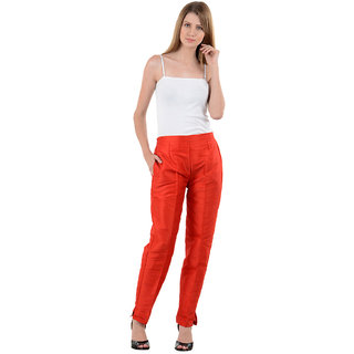 NumBrave Red Raw Silk Pants