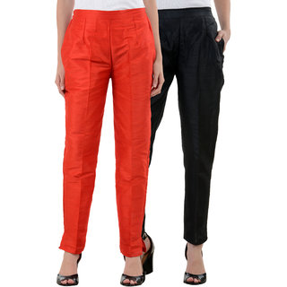 NumBrave Red Black Raw Silk Pants (Combo of 2)