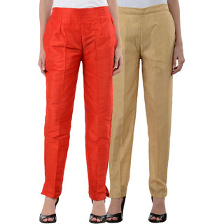 NumBrave Red Golden Raw Silk Pants (Combo of 2)