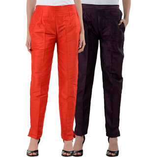 NumBrave Red Purple Raw Silk Pants (Combo of 2)