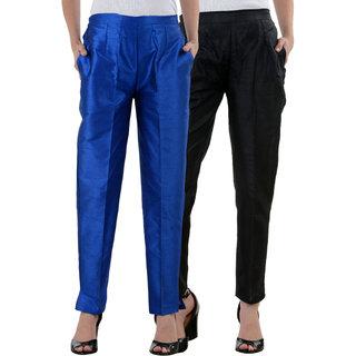 NumBrave Black RoyalBlue Raw Silk Pants (Combo of 2)