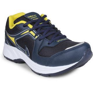 Columbus Mens Blue Yellow Lace-Up Running Shoes