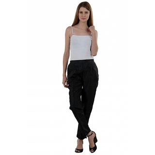 NumBrave Black Raw Silk Pants
