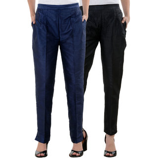 NumBrave Black NavyBlue Raw Silk Pants (Combo of 2)