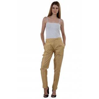 NumBrave Golden Raw Silk Pants