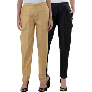 NumBrave Golden Black Raw Silk Pants (Combo of 2)