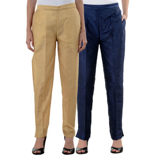 NumBrave Golden NavyBlue Raw Silk Pants (Combo of 2)