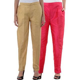 NumBrave Golden Pink Raw Silk Pants (Combo of 2)
