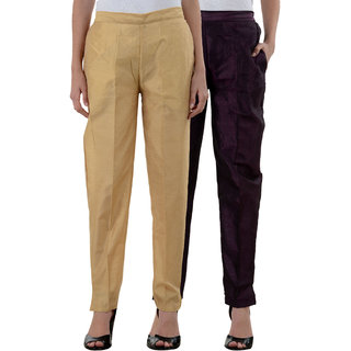 NumBrave Golden Purple Raw Silk Pants (Combo of 2)