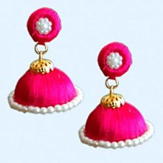 Pink Silk Thread Jhumkas For Women
