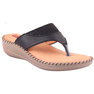 MSC Black Casual Leather Womens Footwears