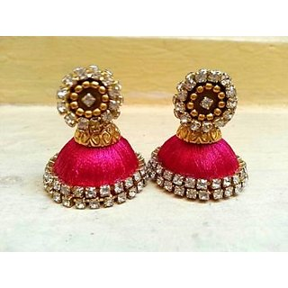 Red Silk Thread Jhumkas For Women