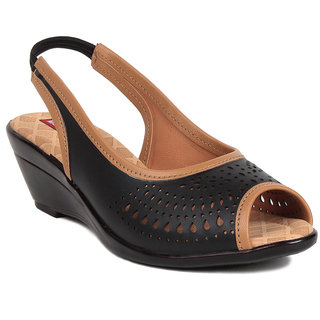 MSC Black Casual Synthetic Leather Womens Footwears