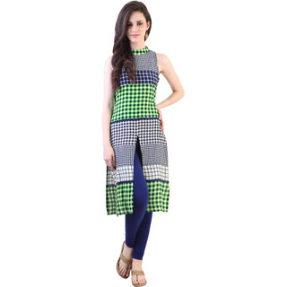 Libas White Rayon Checks Kurta For Women