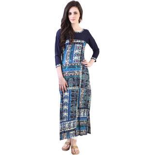 Libas Blue Rayon Printed Kurta For Women