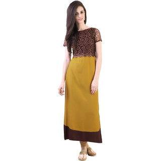 Libas Yellow Rayon Embroidered Kurta For Women