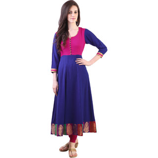 Libas Blue Rayon Plain Kurta For Women