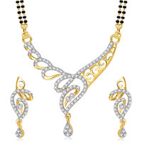 Meenaz Mangalsutra Jewellery Set Silver  Gold Plated Cz With Earring In American Diamond MSPT182