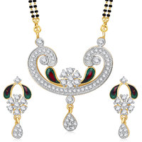 Meenaz Mangalsutra Jewellery Set Silver  Gold Plated Cz With Earring In American Diamond MSPT185