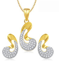 Meenaz Pendants Set Jewellery With Chain In American Diamond Gold Plated Cz Pendant  Locket Sets For Gifts Pt140