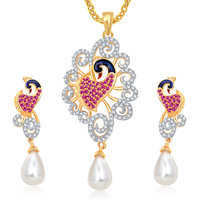 Meenaz Pendants Set Jewellery With Chain In American Diamond Gold Plated Cz Pendant  Locket Sets For Gifts Pt169