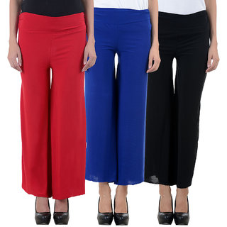 NumBrave Red Blue and Black Lycra Palazzos (Pack of 3)