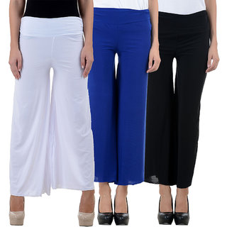 NumBrave White Blue and Black Lycra Palazzos (Pack of 3)