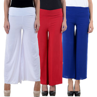 NumBrave White Red and Blue Lycra Palazzos (Pack of 3)