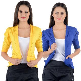 Numbrave Yellow Blue Gathering Sleeve Shrugs (Combo)