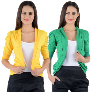 Numbrave Yellow Green Gathering Sleeve Shrugs (Combo)