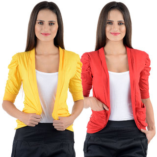 Numbrave Yellow Red Gathering Sleeve Shrugs (Combo)