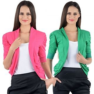 Numbrave Pink Green Gathering Sleeve Shrugs (Combo)