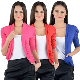 Numbrave Pink Red Blue Gathering Sleeve Cotton Shrugs pack of 3