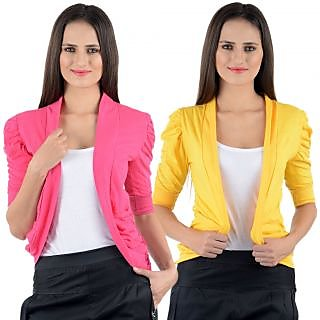 Numbrave Pink Yellow Gathering Sleeve Shrugs (Combo)