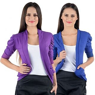 Numbrave Purple Blue Gathering Sleeve Shrugs (Combo)