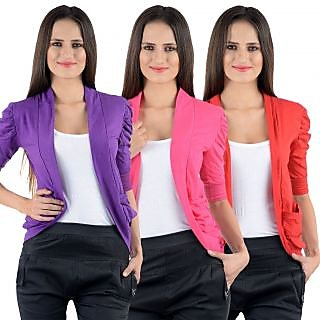 Numbrave Purple Pink Red Gathering Sleeve Cotton Shrugs pack of 3