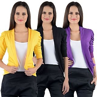Numbrave Yellow Black Purple Gathering Sleeve Cotton Shrugs pack of 3