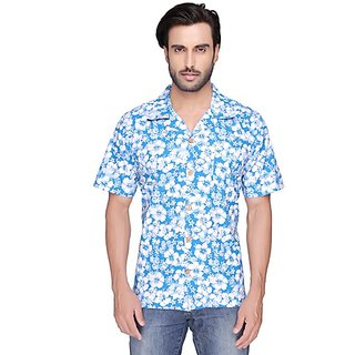 SBA Light Blue And White Color Printed Casual Shirt