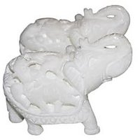 White Marble Elephant Pair For Home Decoration 3 Inch