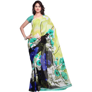 Prafful White Georgette Printed Casual Wear Saree