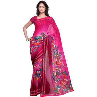 Prafful Magenta Georgette Printed Casual Wear Saree