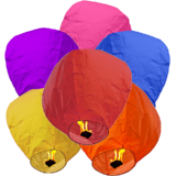 Regular Sky Lantern  Pack Of  5 Mix Colour