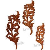 Wod Carving Leaf Design Key Hanger Set/3