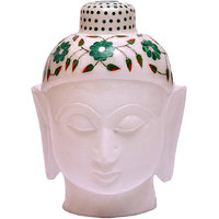 White Marble Budha Head For Home Use 2 Inch
