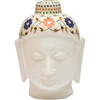 White Marble Budha Head For Home Use 3 Inch